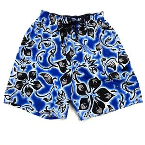 Men's Light Blue Hawaiian Speedo Swim Trunks